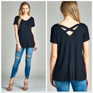 NEW Criss Cross back tunic top - black